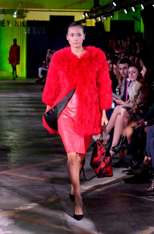 Giorgio Brato coat, £380; Moschino skirt, £375; Saint Laurent pumps, £395; Valentino bag, £1995