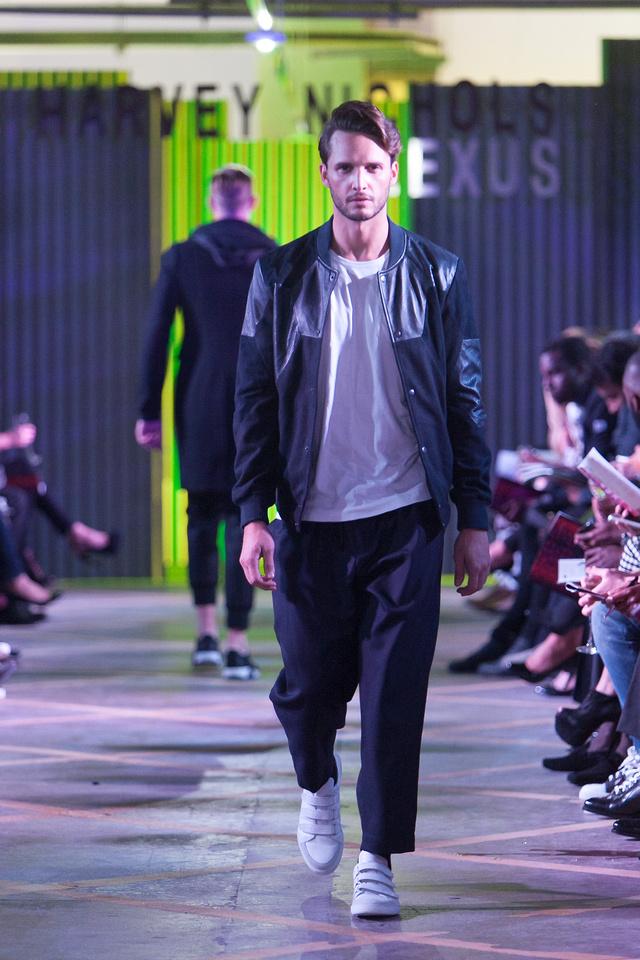 Lescott Stewart jacket, £310; Lescott Stewart T-shirt, £85; Marni trousers, £375; Dior Homme trainers, £550